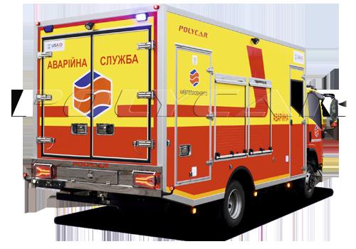 Аварійно-відновлювальні машини, виконані в Polycar на базі Isuzu NPS 75 за програмою USAID.