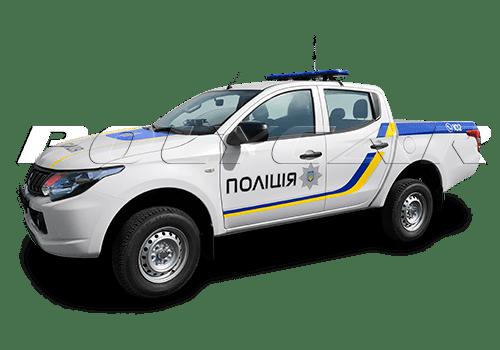 Патрульный автомобиль полиции, выполненный в Поликар на базе Mitsubishi L200.