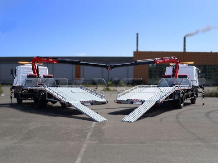 Эвакуаторная платформа и кран-манипулятор, установленные в Polycar на автомобили МАЗ.
