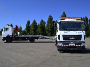 Эвакуаторы МАЗ с краном-манипулятором, выдвижными трапами и лебедкой.