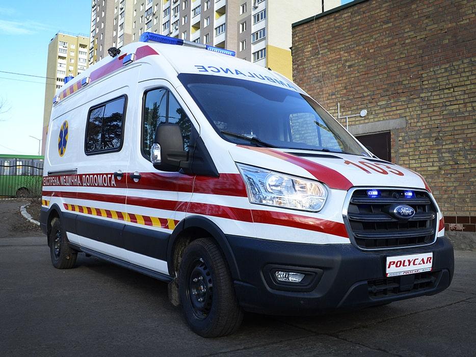 Автомобіль швидкої допомоги на базі Ford Transit.